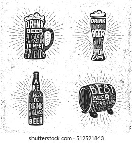 Creative beer set with glass, mug, bottle and barrel. Vector illustration with sunburst and lettering. Typography objects used for advertising festival, beverage, bar or pub menu.