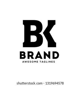 creative BK letter monogram strong and bold  logo vector concept