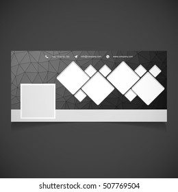 Creative Black background Photography banner template. place for image. Photography Facebook Cover. Vector illustration