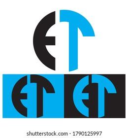 Creative Black vector logo letter ET TE of circle monograms for Title, Header, mobile apps. flat rounded. Modern design