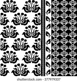 Creative black and white damask wallpaper set. Floral motifs, leaves border, scrolls. Art deco wallpaper collection.