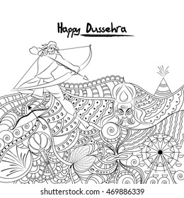 Creative black and white doodle style illustration for Indian Festival, Happy Dussehra celebration.