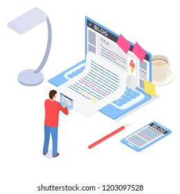 Creative Blog Post Concept 3d Isometric View Include of Computer, Text, Blogger, Mobile and Paper. Vector illustration