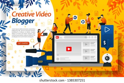 Creative Blogger video. Vlog Studio for editing. online influencer, vlogger and selebgram, concept vector ilustration. can use for landing page, template, ui, web, mobile app, poster, banner, flyer