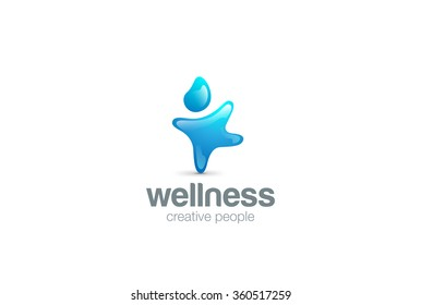Creative Blue aqua Character abstract Logo design vector template. Water drop sport man Logotype concept. Fitness icon.