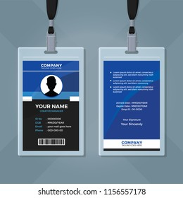 Creative Blue and Black ID Card Template