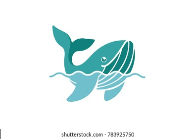 Creative Blue Dolphin Whale Logo Design Illustration