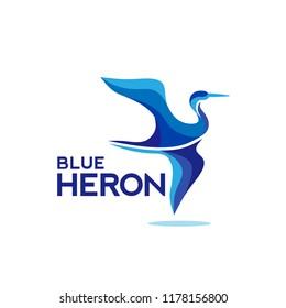 creative blue Heron logo vector