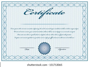 Creative blue vintage certificate with text. Editable isolated vector design.