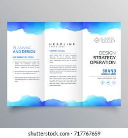 creative blue watercolor trifold brochure design template