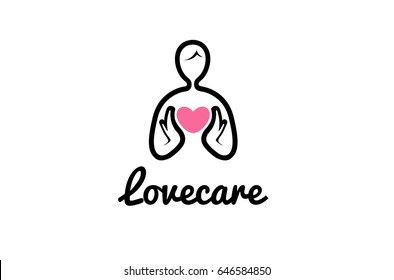 Creative Body And Heart Holding Logo Design Illustration