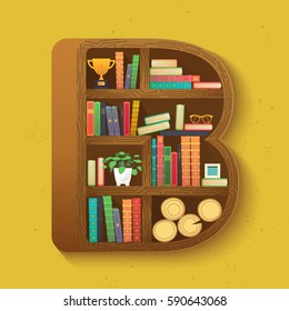 Creative Bookshelf In Isometry With Colorful Books And Teenage Items Background Bookcase Shaped Letter B