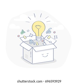 Creative box. Think Outside the Box, Imagination, Creativity and Brainstorm concept. Cute cartoon box and light bulb inside. Flat line vector illustration for web and mobile design.