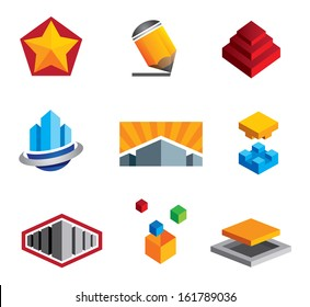 Creative boxes construction logo icon from small to big real estate