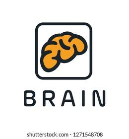 Creative brain abstract vector logo design template. Braintech. Vector illustration