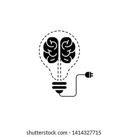 creative brain with bulb concept vector illustration isolated on white background, Black Symbol idea design template, Suitable for banner, Book Illustration, and Web Landing Page Concept