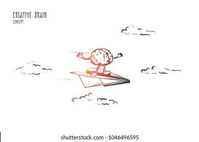 Creative brain concept. Hand drawn power of mind, human brain. Right and left hemispheres flying isolated vector illustration.