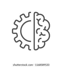 Creative Brain Concept Logo Design Template. AI, Iot, Industry 4.0
