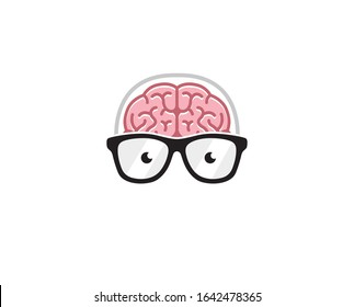 Creative Brain Geek Logo Symbol Vector Illustration