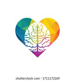 Creative brain heart shape logo design. Think idea concept.