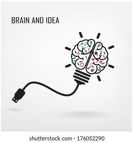 Creative brain Idea concept background design ,business idea ,abstract background.vector illustration