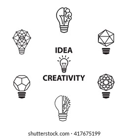 Creative brain Idea and light bulb concept, design for poster  cover brochure, business idea, education concept.vector illustration