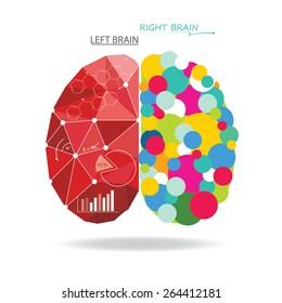 Creative brain Idea. Vector concept. Sciences and arts. Left and right brain functions.