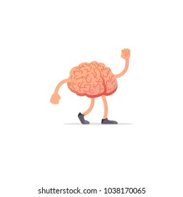Creative Brain illustration, mind concept with with arms and legs.