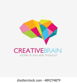Creative Brain Logo design vector template. Think idea concept. Brainstorm power thinking brain Logotype icon Logo.