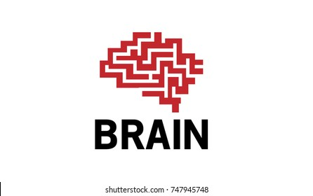 Creative Brain Maze Logo Design Illustration