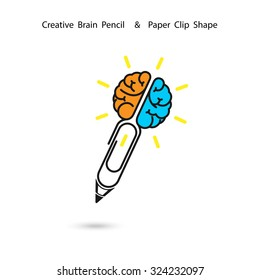 Creative brain pencil logo design,Paper clip sign.Concept of ideas inspiration, innovation, invention, effective thinking, knowledge. Business and Education concept.Vector illustration