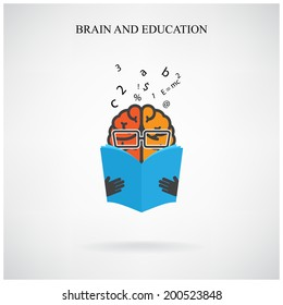 creative brain sign and book symbol on background,design for poster flyer cover brochure ,business idea ,education concept.vector illustration