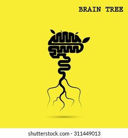 Creative brain tree abstract vector logo design.Corporate business industrial creative logotype.Brain tree symbol,tree of knowledge,environmental,education or business concept.Vector illustration