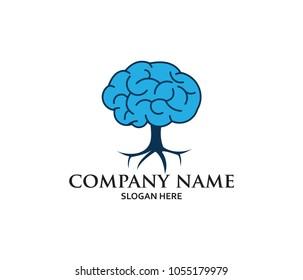 creative brain tree smart matrix neuron system illustration vector logo design