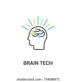 Creative brain - vector illustration. Technology in the human head