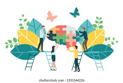 Creative brainstorming business process and business strategy concept for team building ,co-working and collaboration. Flat design for web banner, marketing material and presentation,