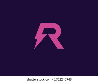 Creative bright pink geometric letter R and lightning logo for your company