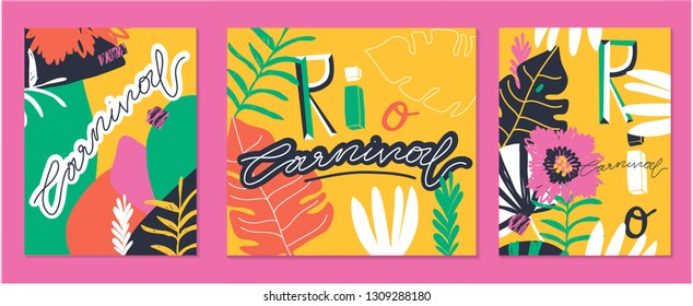 "Creative bright set of Brazil Carnival backgrounds / cards. Vector templates with trendy abstract tropical elements. Signs ""RIO"", ""CARNIVAL""."