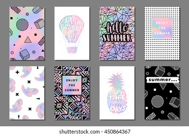 Creative bright summer journaling cards. Retro memphis holographic posters with balloon and pineapple. Hello typography. Vector minimal design for banner, cover, flyer, brochure, wallpaper, invitation