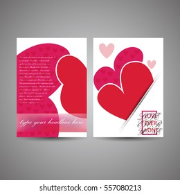 Creative brochure / flyer design template, Can be used as a valentine's day card, happy mother's day card, greeting, celebration. Illustration, Vector eps10.