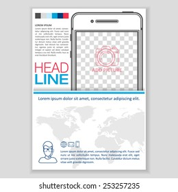 Creative Brochure Template Design with Smartphone for mock up. Abstract  Vector Flyer, Pamphlet, Leaflet layout for marketing, advertising and Flat style web site banners.