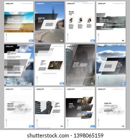 Creative brochure templates with colorful gradient geometric background. Gray colored design. Covers design templates for flyer, leaflet, brochure, report, presentation, advertising, magazine