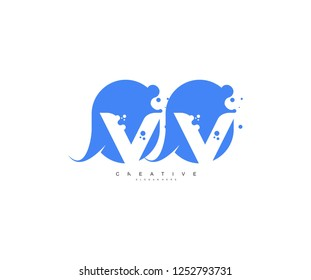 Creative Bubble Smooth Rectangle with Dots Initial VV Letter Logo Design