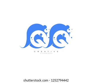 Creative Bubble Smooth Rectangle with Dots Initial QQ Letter Logo Design