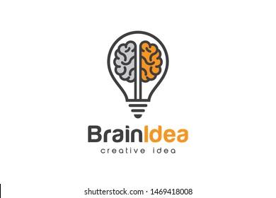 Creative Bulb Brain Logo Design Temptate