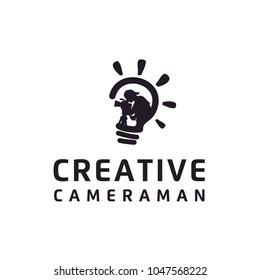 Creative Bulb Camera Cameraman Film Movie Video Cinema Production logo design