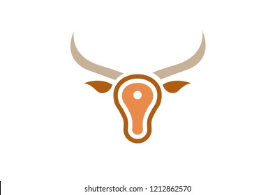 Creative Bull Meat Head Logo Symbol Design