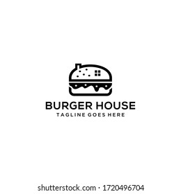 Creative burger with house sign logo template design vector illustration