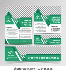 creative business agency flyer, social media, and banner templates green