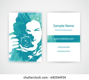Creative business card for lady photographer on background with  blue paint splashes. Set template
